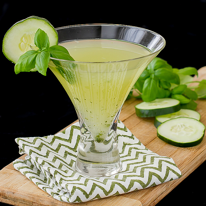 Cucumber Basil Martini - Light and Refreshing