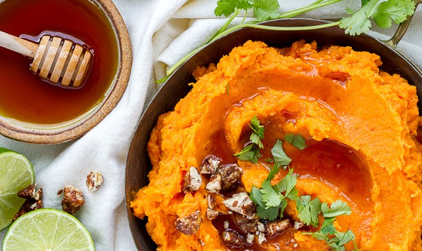 Chipotle Mashed Sweet Potatoes with Honey & Lime