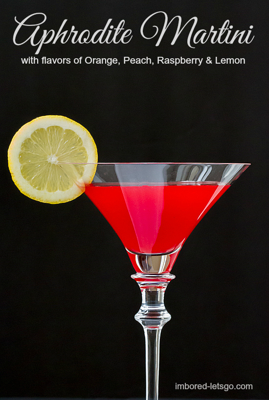 A delightful martini with orange, peach, raspberry and lemon flavors