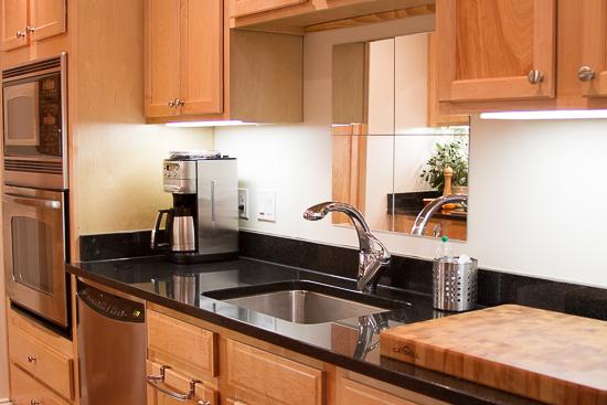 Sink side of galley kitchen