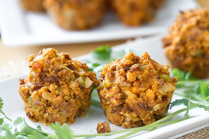 Cornbread Chorizo Stuffing Muffins - perfect individual sized portions