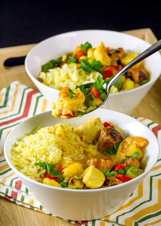 Paella Soup with chicken, shrimp and chorizo