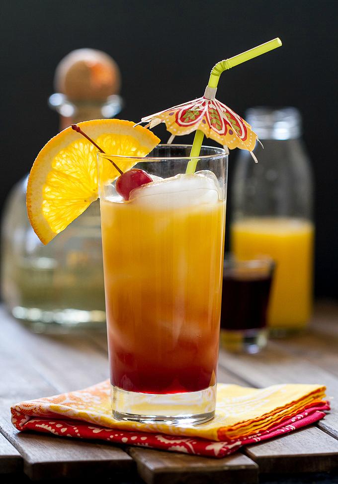 Tequila Sunrise with Homemade Grenadine