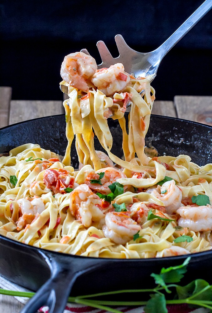 Fresh fettuccine with a creamy shrimp sauce that's out of this world!