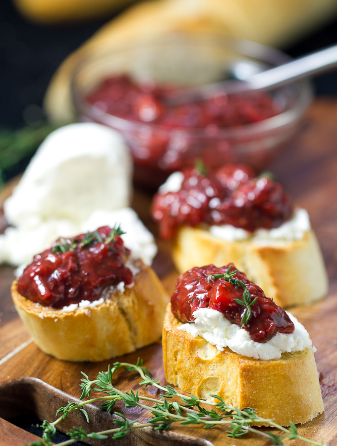 Bruschetta with Strawberry Chutney and Goat Cheese