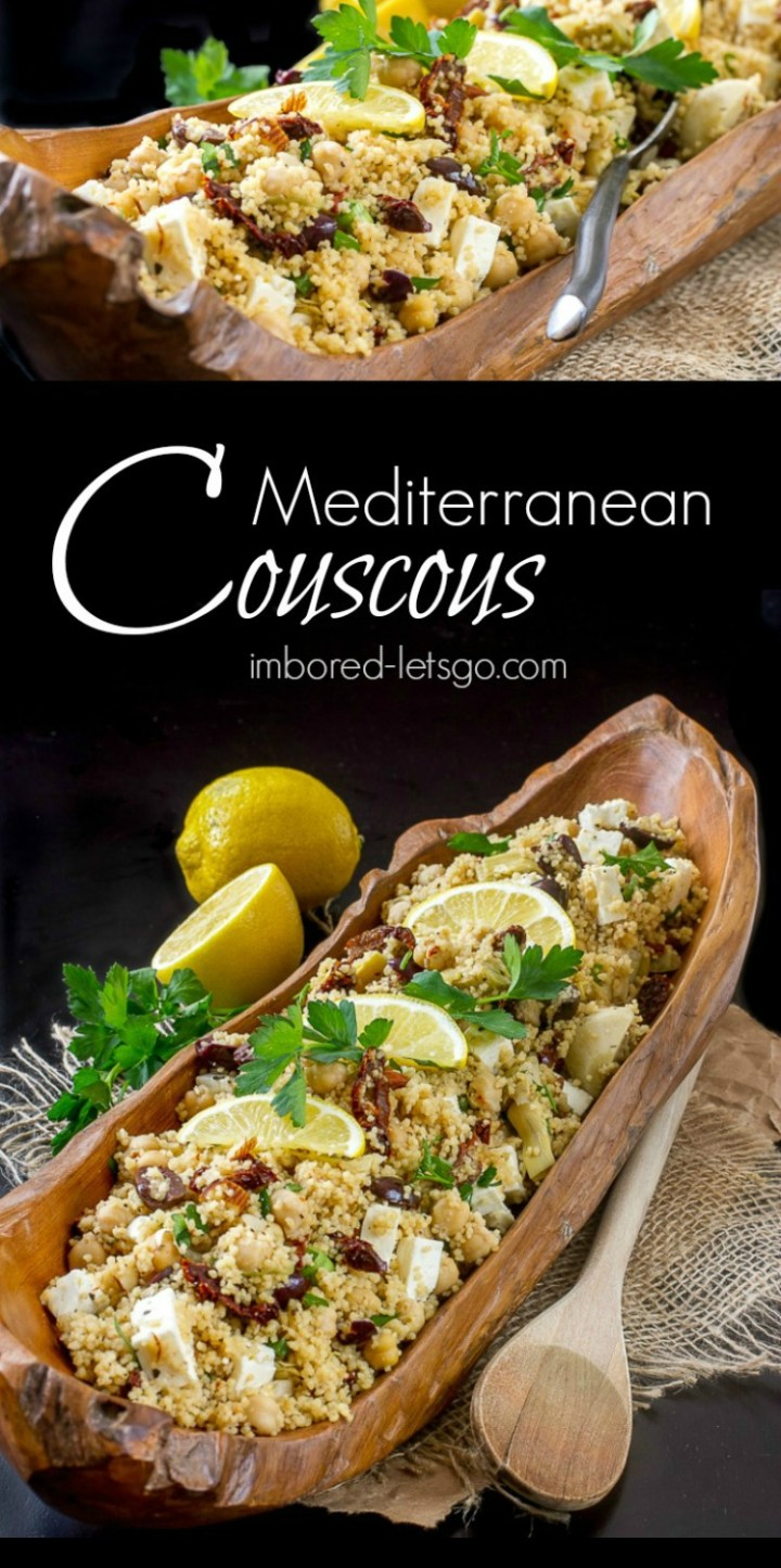 A delicious couscous with Mediterranean inspired flavors. Artichokes, sun dried tomatoes, olives and feta cheese.
