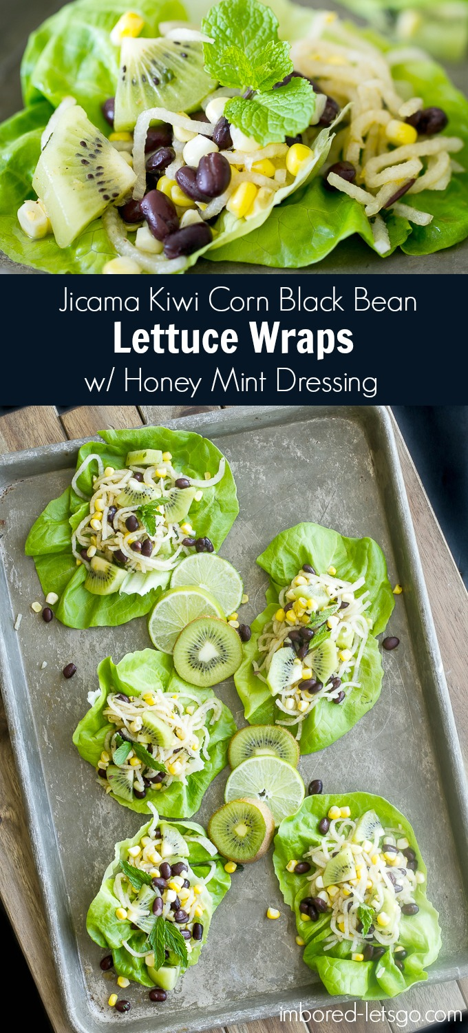 Yummy lettuce wraps with spiralized jicama, kiwi, roasted corn, and black beans tossed in a fantastic honey lime dressing. So good! Perfect vegetarian meal for spring or summer.