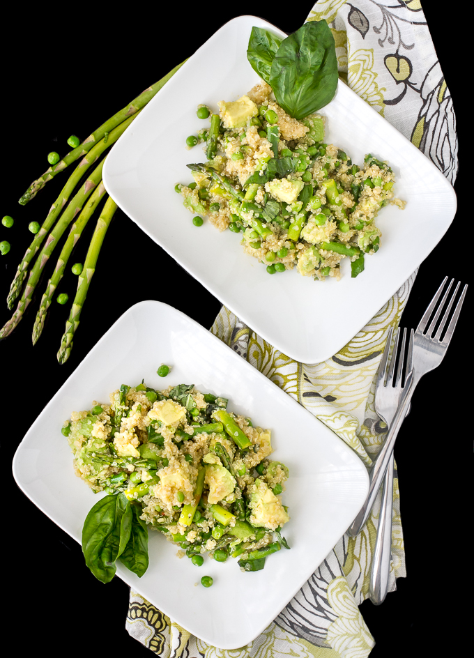 Spring Quinoa Salad with Asparagus, Peas, Avocado and Basil