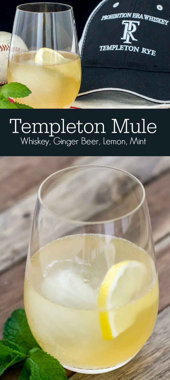 Templeton Rye Mule - a departure from the traditional Moscow Mule.  Made with Templeton Rye whiskey, ginger beer, lemon and mint simple syrup.  It's great!