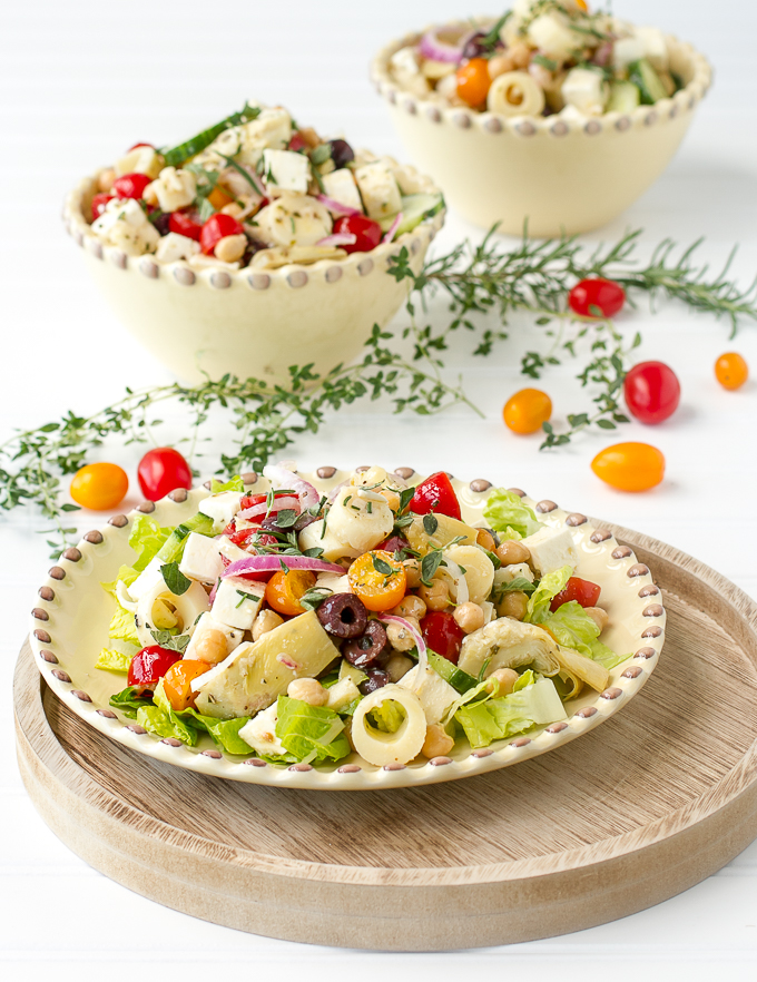 A delicious Greek chopped salad with all the ingredients from a Greek Salad and more!