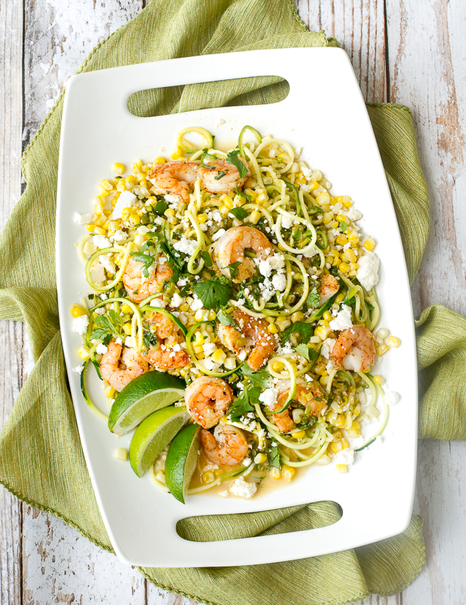 Mexican Street Corn on Zucchini noodles with Shrimp