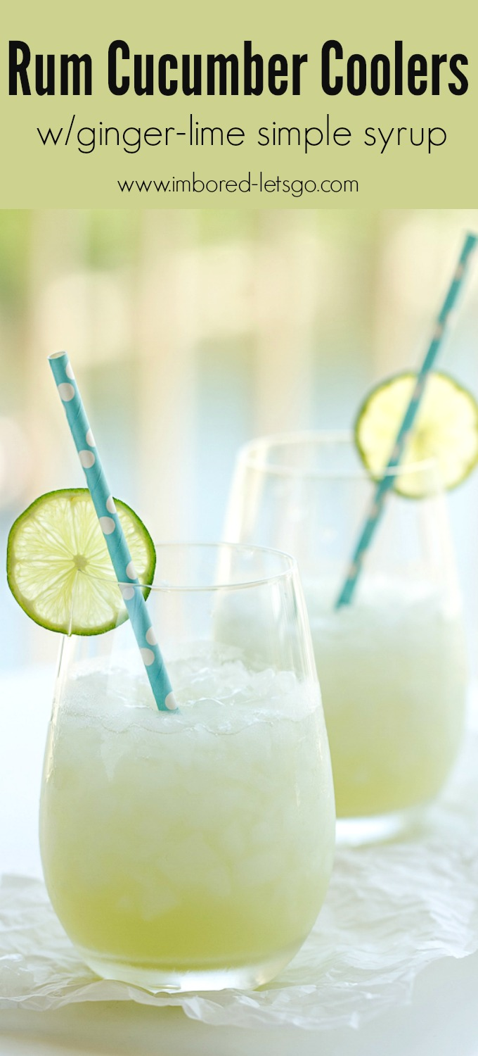 A delicious Rum Cucumber Cooler with rum, fresh cucumber juice, a tasty ginger lime simple syrup, and topped off with club soda.
