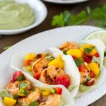Chipotle Shrimp Jicama Tacos with Mango Salsa and Avocado Crema