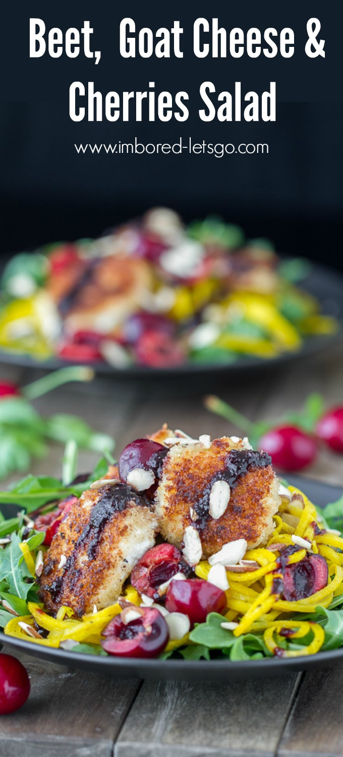 Panko Crusted Goat Cheese, sweet Cherries, spiralized golden beet noodles sit on top of arugula and drizzled with a cherry balsamic reduction. A delicious salad!