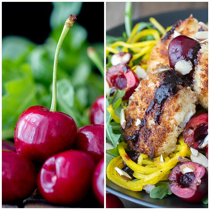 Sweet Cherries & Panko Crusted Goat Cheese on top of Spiralized Golden Beets