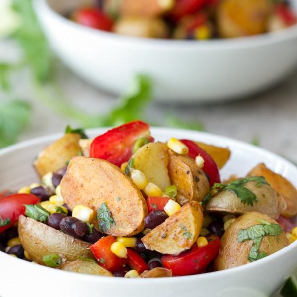 Southwestern potato, corn & black bean salad