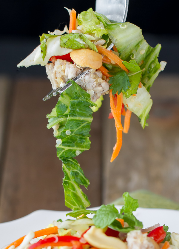 Thai Pork Quinoa Salad is light, fresh, healthy & delicious!