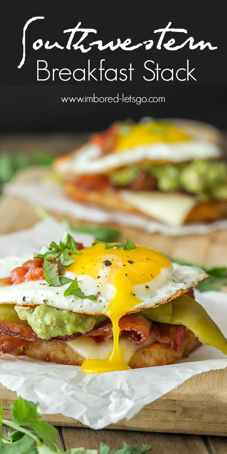 Southwestern Breakfast Stack has hash browns, cheese, bacon, guacamole, green chili and topped off with a fried egg. Cilantro and salsa to garnish if you desire. So good!!!