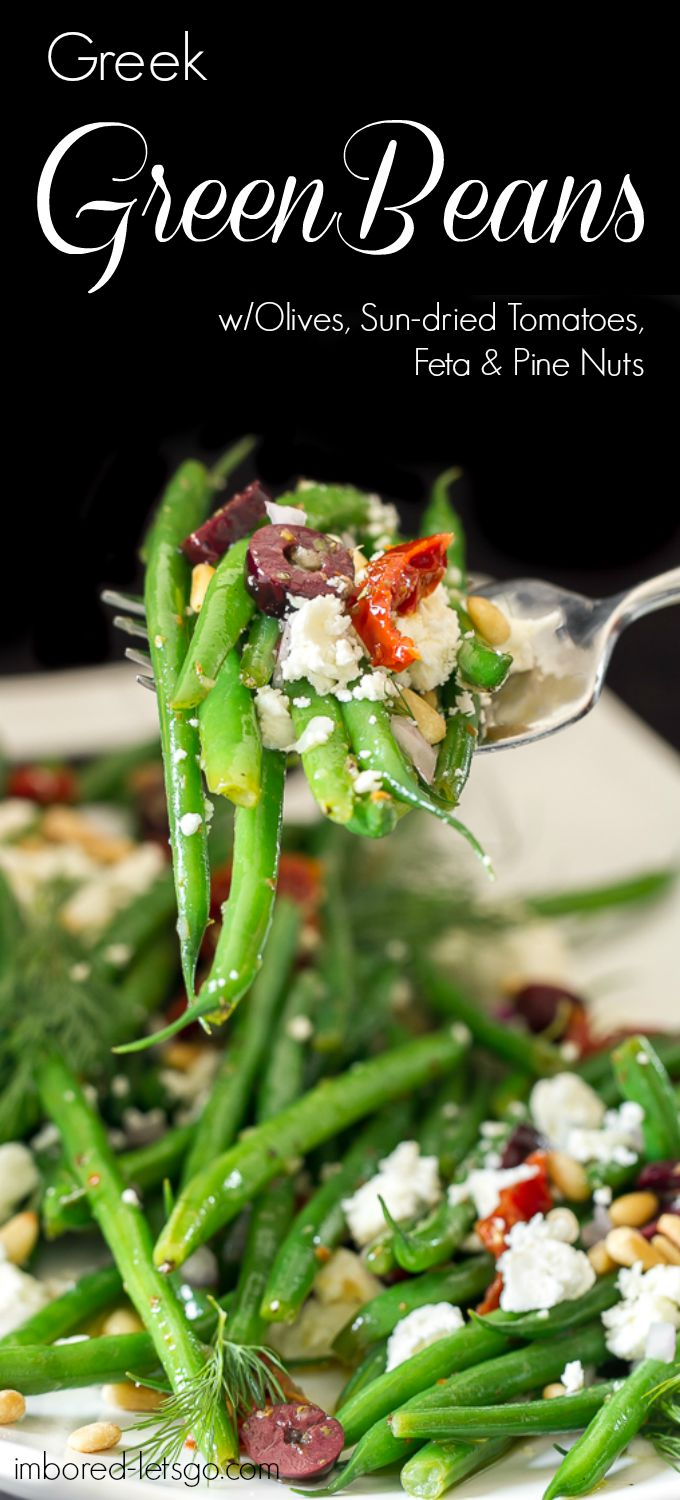 Delicious Greek flavors are found in these green beans. They have kalamata olives, sun dried tomatoes, feta, pine nuts and dill. Great salad or side to your favorite grilled chicken, fish or beef.