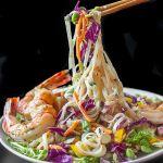 Ginger Miso Slaw with Edamame, Rice Noodles & Shrimp