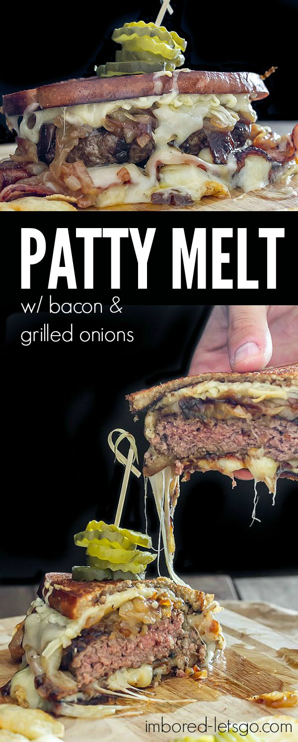 Patty Melt with bacon, caramelized onions, and lots of swiss cheese. There's a secret to making a fantastic grilled sandwich, find out what it is!
