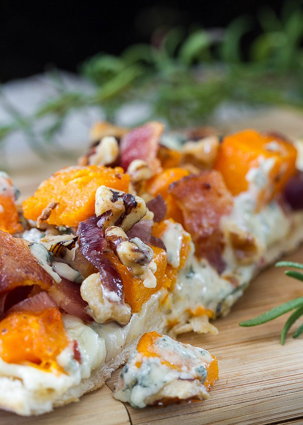 Butternut squash bacon blue cheese caramelized onion pizza