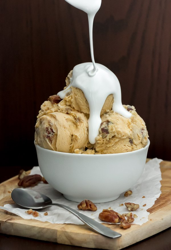 Sweet Potato Pie Ice Cream with Candied Pecans and Marshmallow Cream
