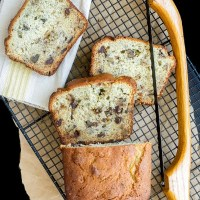 Chocolate Chip Banana Bread is moist and delicious. Also has walnuts but you can substitute more chocolate chips if you want!