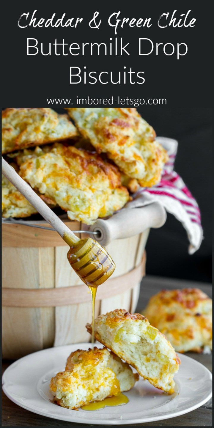 Cheddar and Green Chile Buttermilk Drop Biscuits - so easy to make and super moist and tasty!
