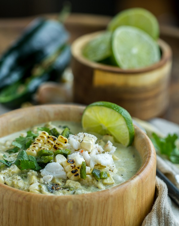 Roasted Poblano Corn and Crab Soup