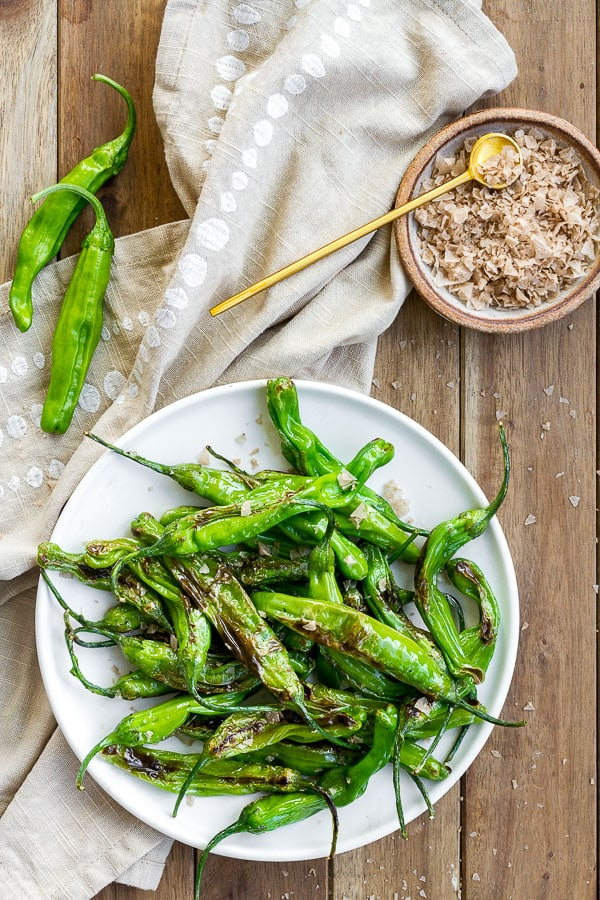 Blistered Shishito Peppers with Flaked Smoke Salt