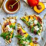 Peach Prosciutto Ricotta Arugula Pizza