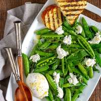 Charred Sugar Snap Peas with Burrata and Mint