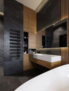 madera para baños oscuros con encanto