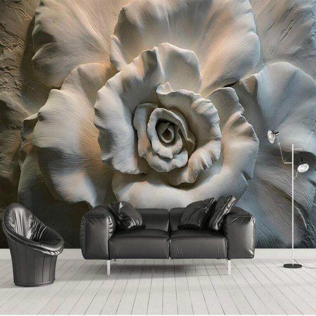 Papel tapiz de flor en blanco y negro