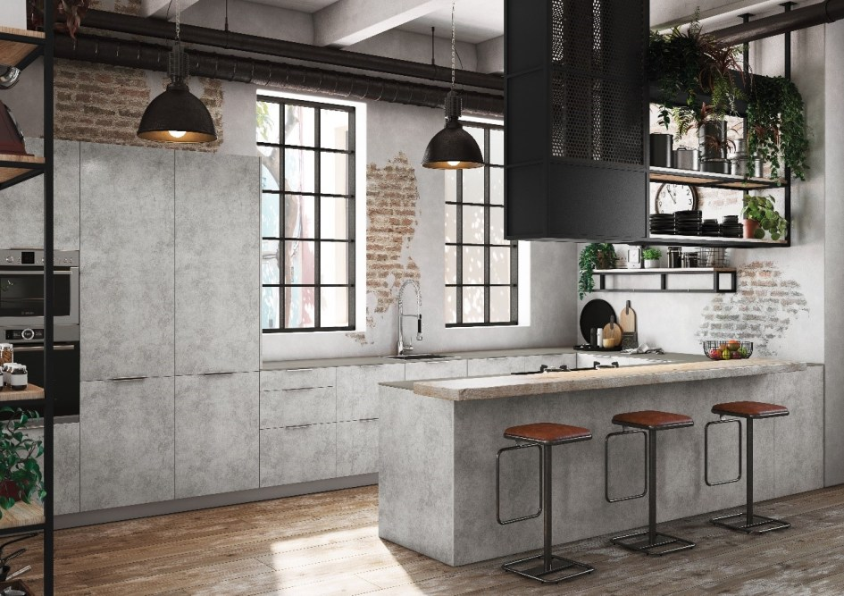 decoración de cocinas pequeñas modernas y elegantes - en cemento