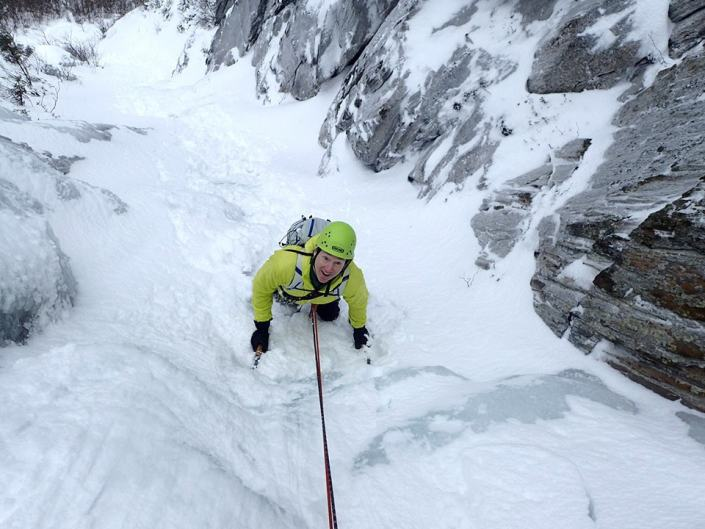 Snow climbing in Parasol Gully