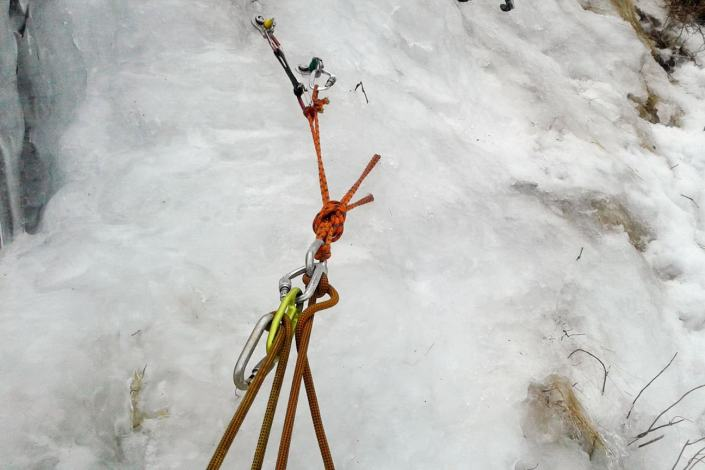 Ice climbing anchor.