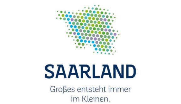 Saarland in kleinen Punkten dargestellt. Text: SAARLAND Großes entsteht immer im Kleinen