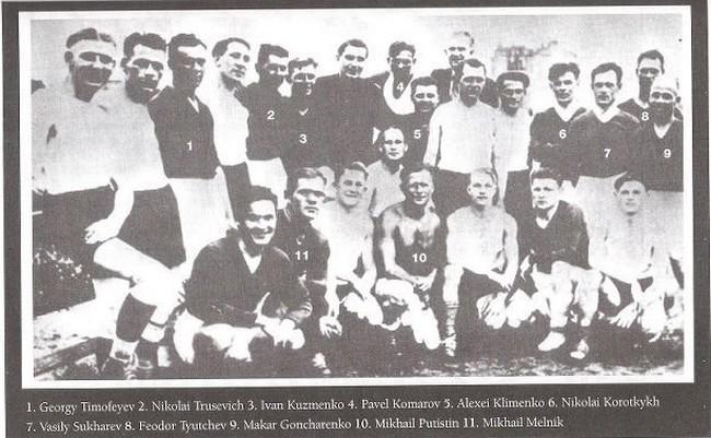 Φωτογραφία της ομάδας «Στάρτ» με τα ονόματα των ποδοσφαιριστών.
