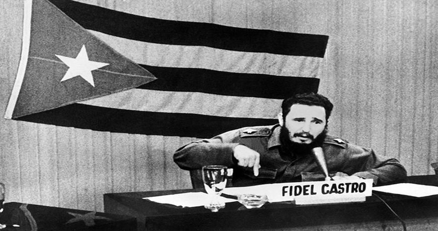 Cuban leader Fidel Castro gives a speech
