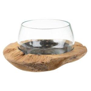 Holzschale mit Glas