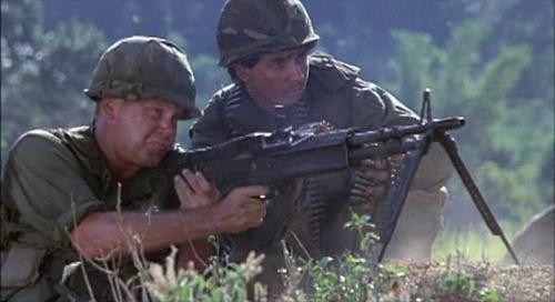 An American M60 team opens fire.