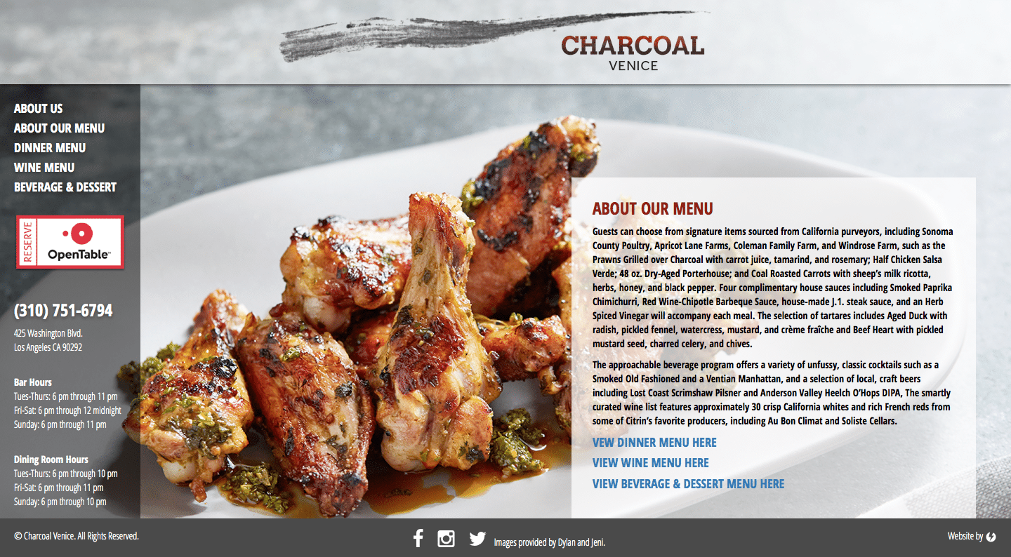 Charcoal Venice - Restaurant WordPress Website