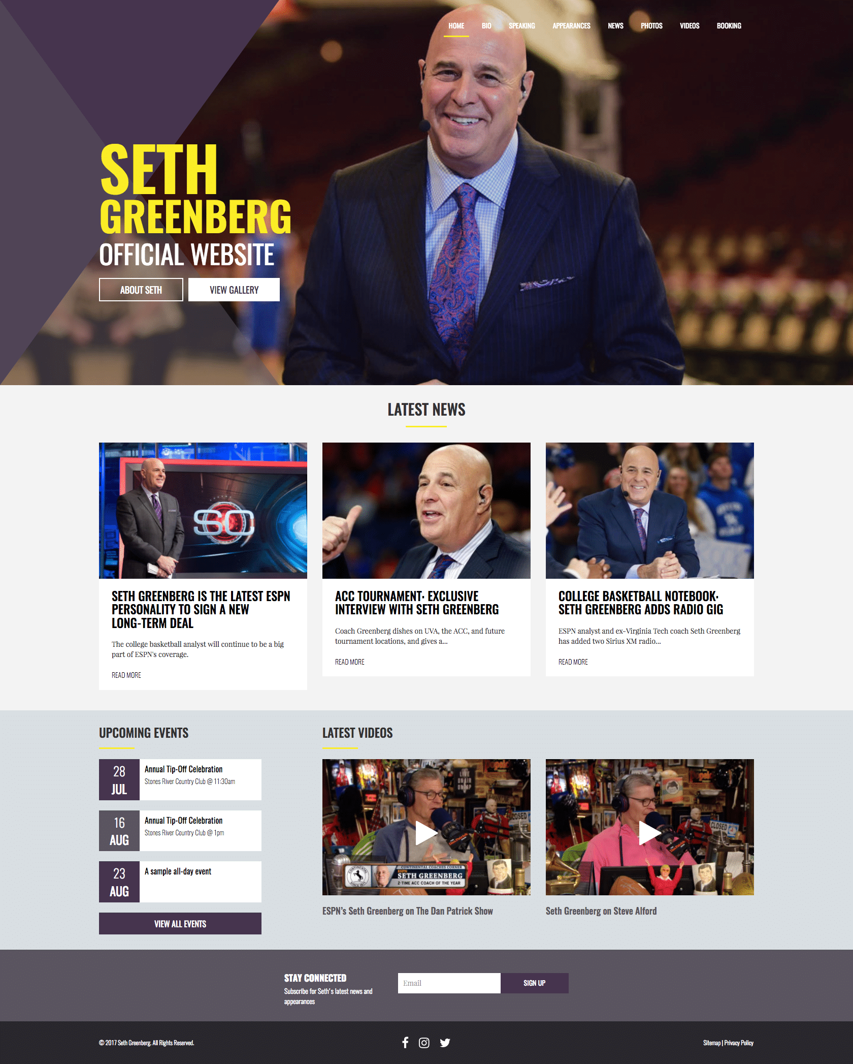 Seth Greenberg - Custom Sports Talent Website by imFORZA
