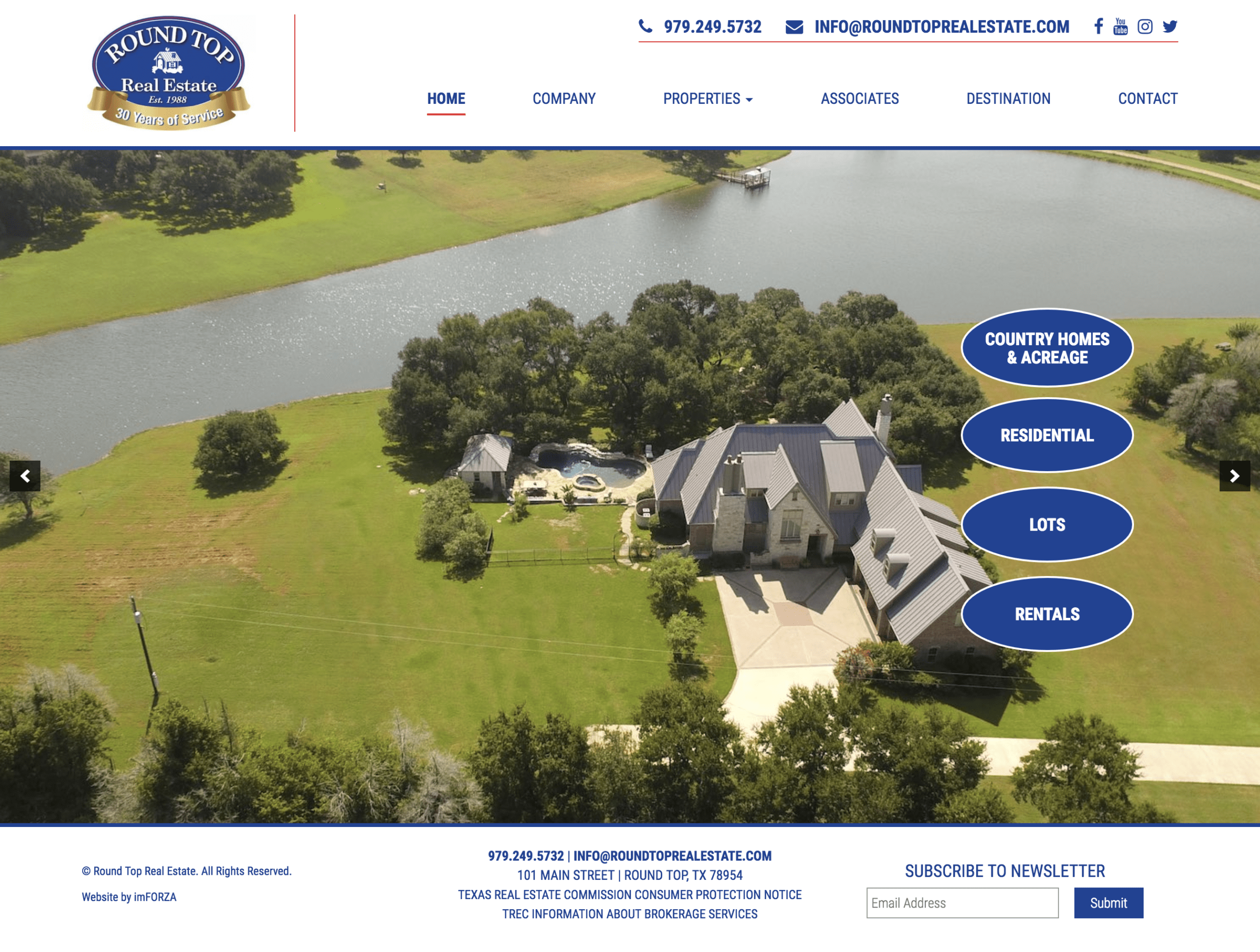 Round Top Real Estate - Custom Real Estate WordPress Website by imFORZA