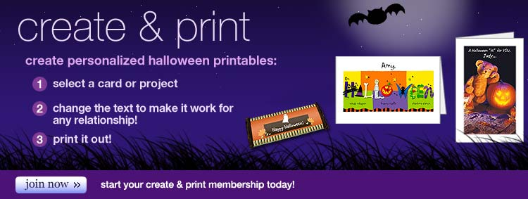 printable halloween cards, personalized halloween printables