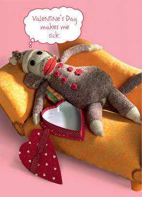 Sock Monkey Valentine Valentines Day Card Cardstore