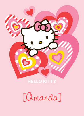 Pink Heart Hello Kitty Valentines Day Card Cardstore