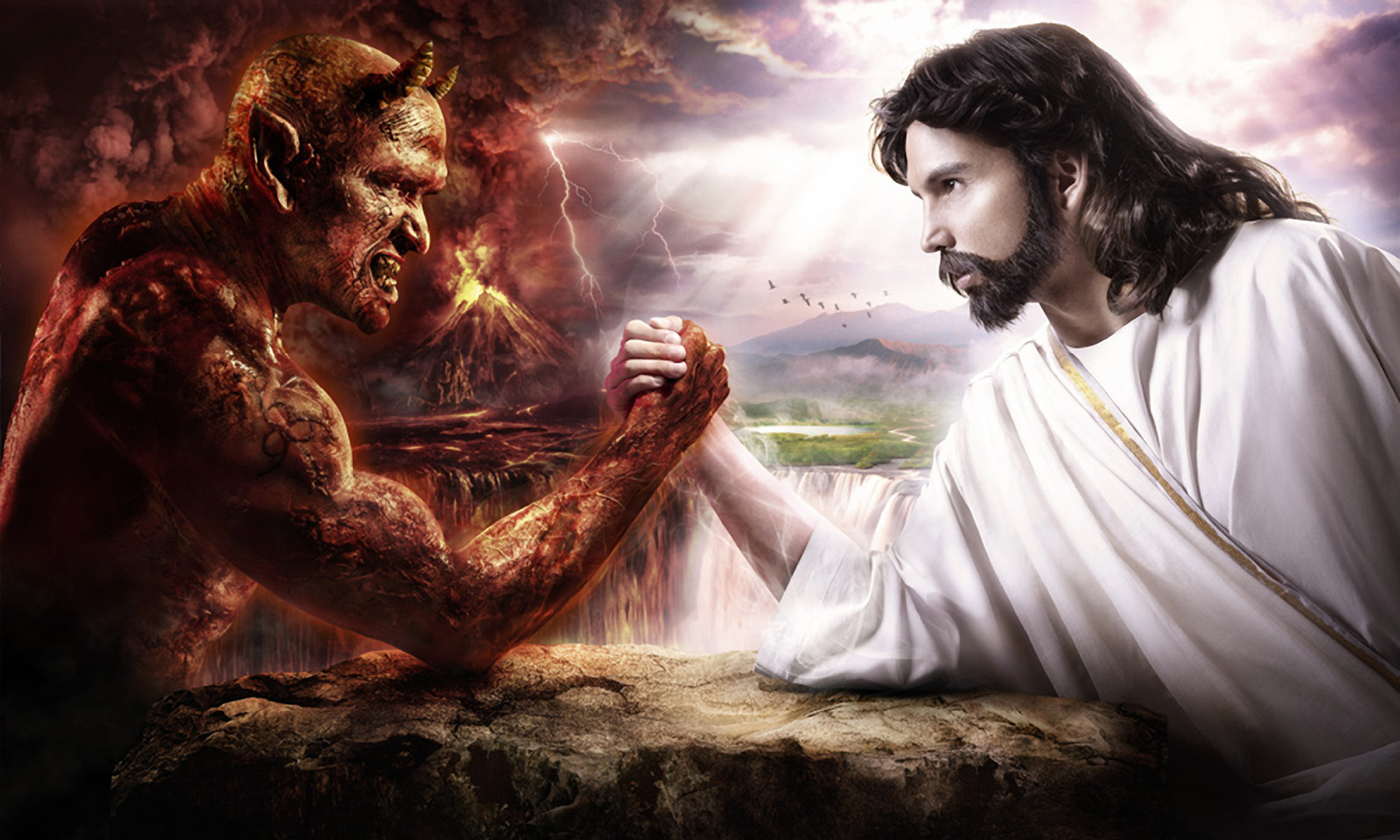 Jesus Vs Satan Arm Wrestling wallpaper